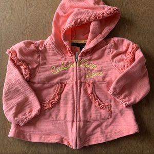 🏇🏼 2/$20 Calvin Klein Jeans Peach Hoodie Sz 18m